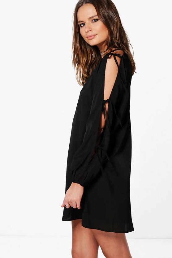 Agnes Tie Detail Split Sleeve Shift Dress