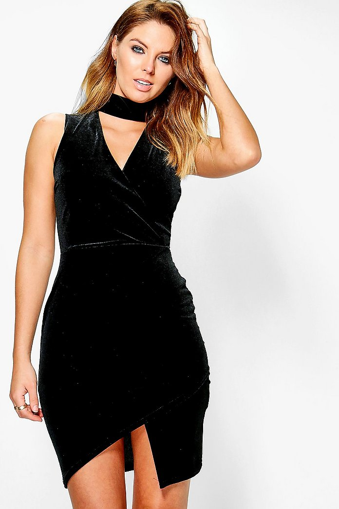 Vaida Velvet High Neck Wrap Bodycon Dress