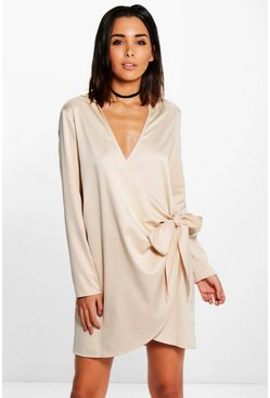Betheny Satin Tie Side Shirt Dress