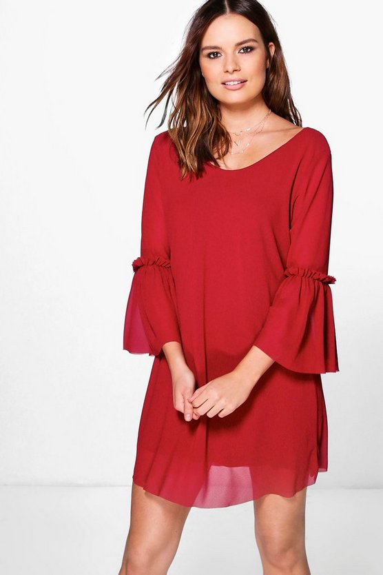 Kayley Woven Sheer Frill Sleeve Shift Dress