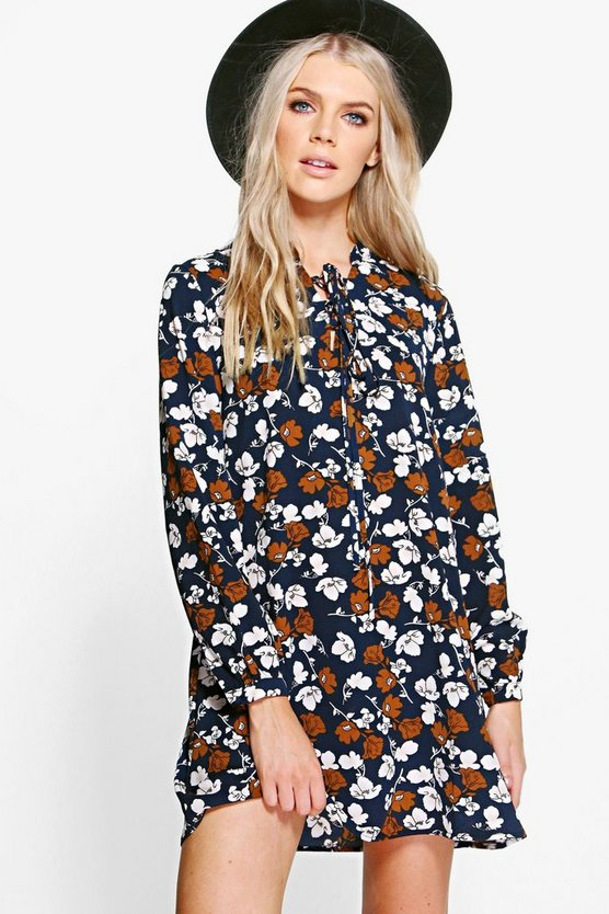 Riana Lace Up Printed Shift Dress