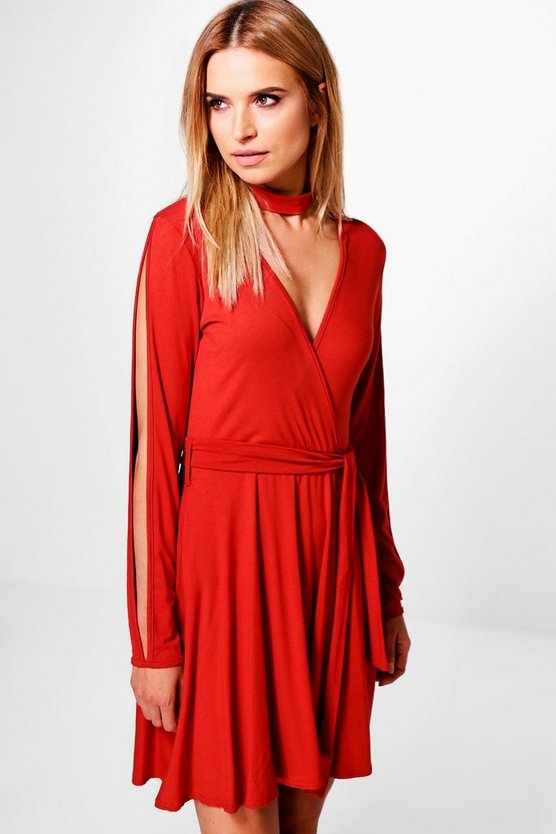 Sasa Choker Split Sleeve Wrap Skater Dress