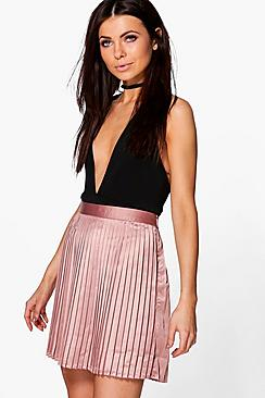 Emilia Matte Satin Pleated Mini Skirt