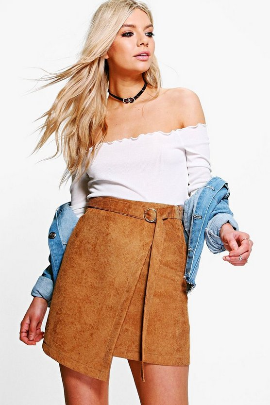 Athena Cord Asymetric Mini Skirt