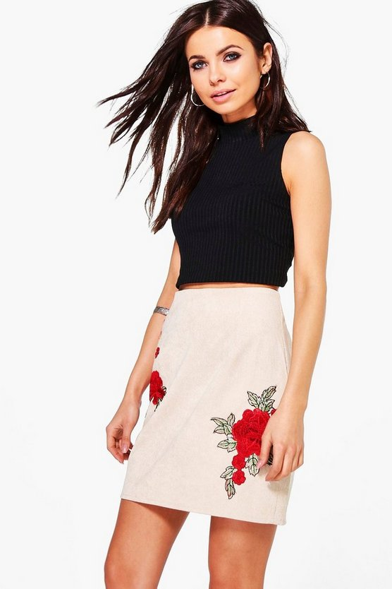 Arizona Rose Applique Cord A Line Skirt
