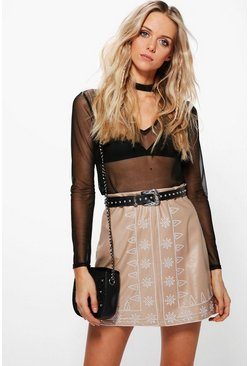 Haven Embroidered Leather Look A Line Skirt