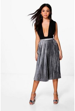 Ava Metallic Pleated Midi Skirt