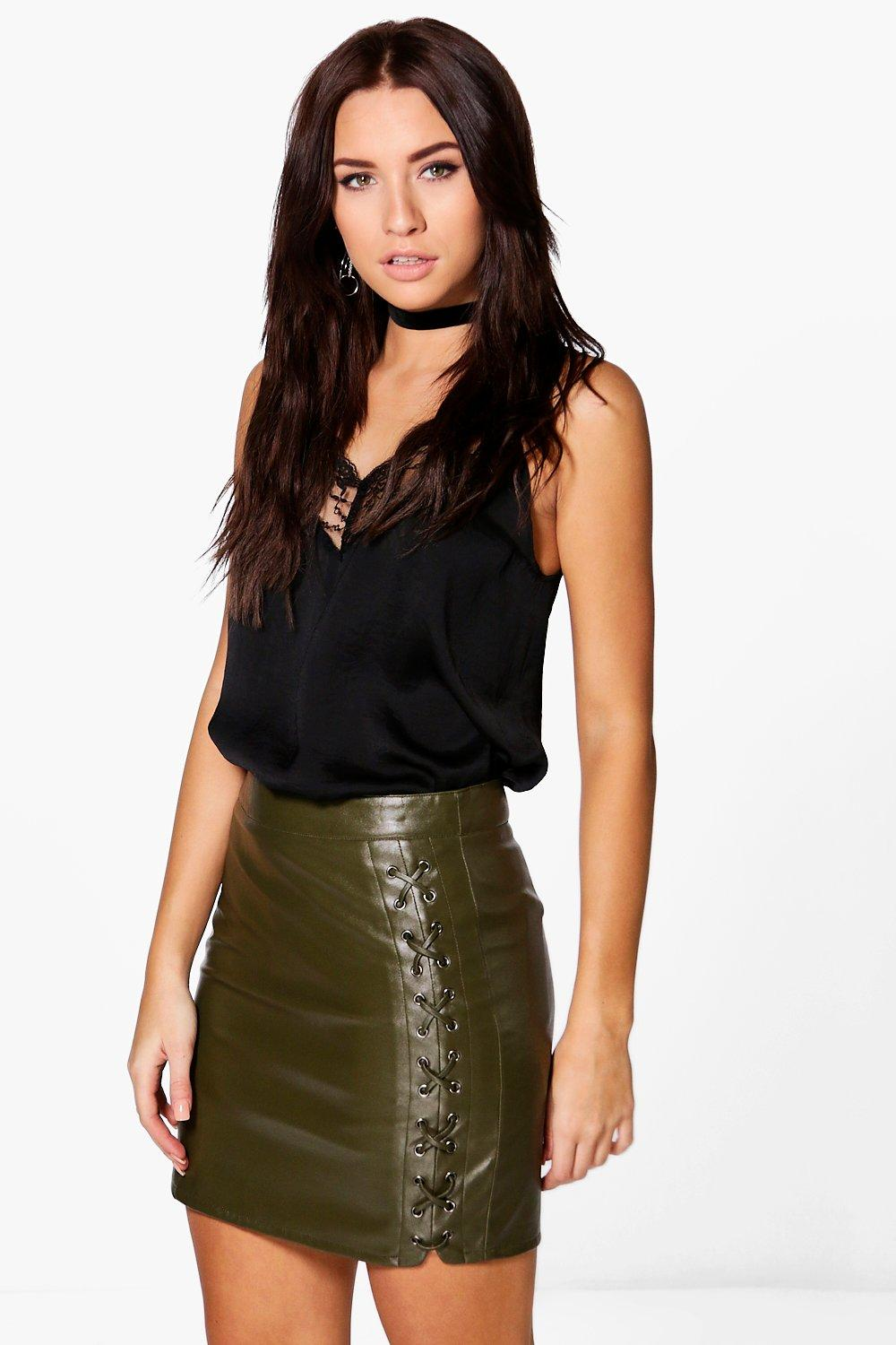 Lace Up Side Leather Look Skirt  khaki