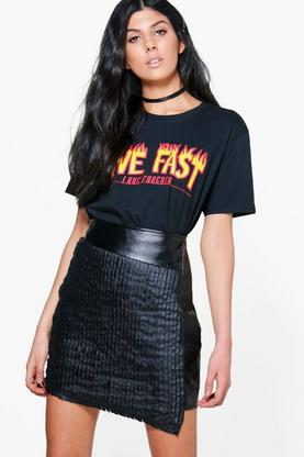 Isabeli Stitch Front Asymetric Leather Look Skirt