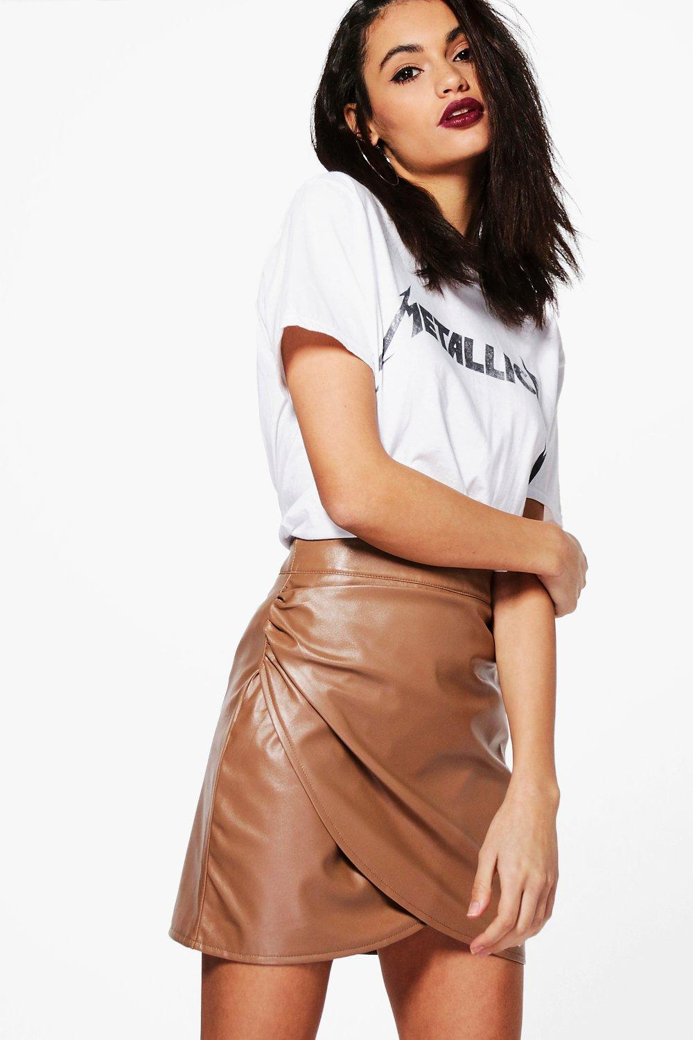 Elettra Rouched Side Leather Look Mini Skirt