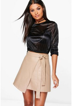 Jen Tie Asymetric Leather Look Mini Skirt