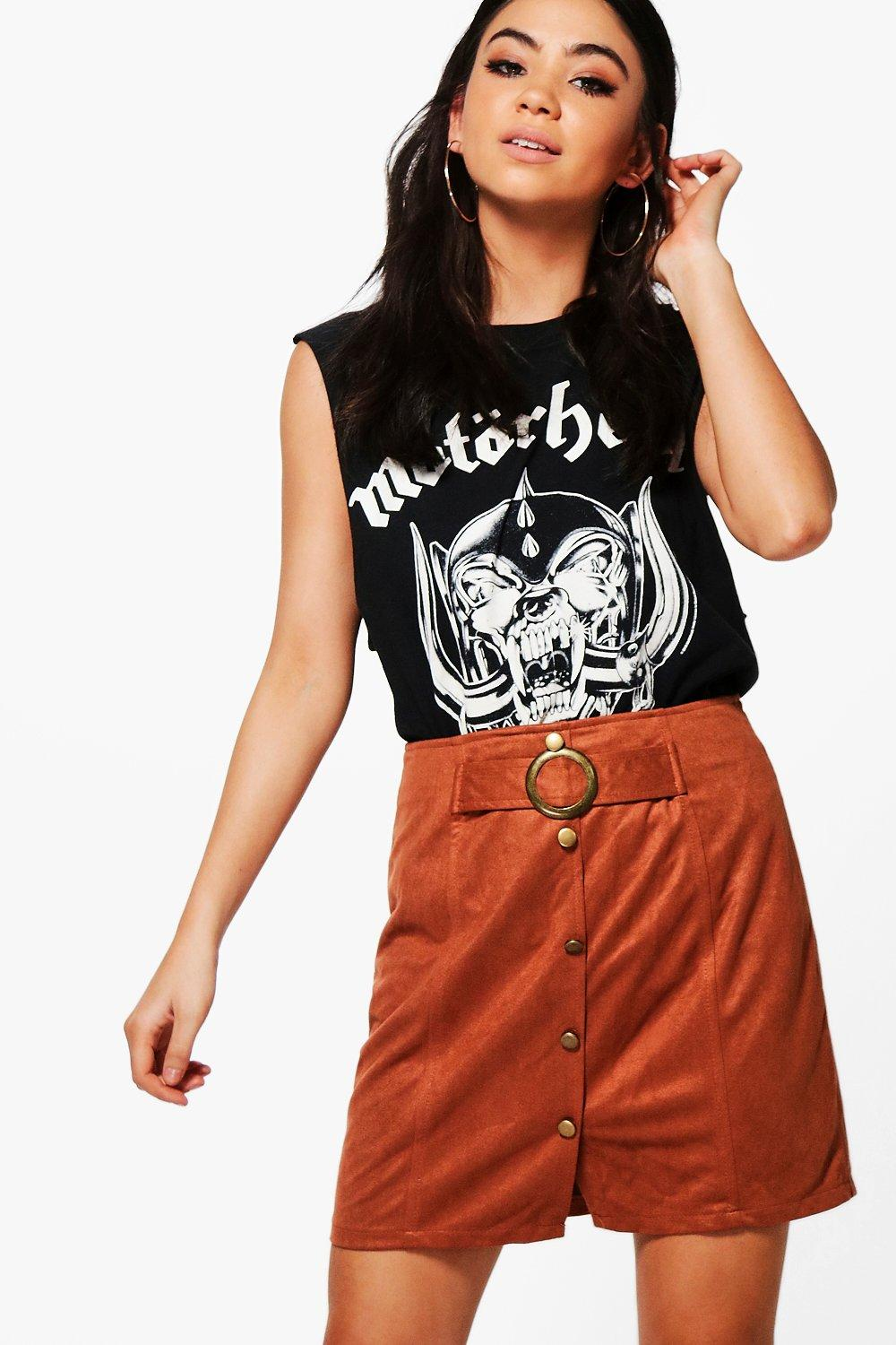 Alex Button Front Suedette Mini Skirt