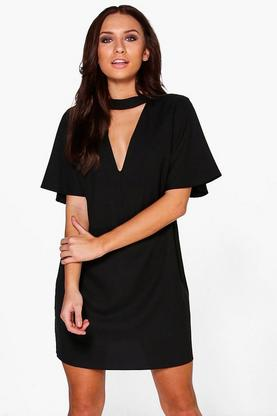 Thea Choker Flute Sleeve Shift Dress