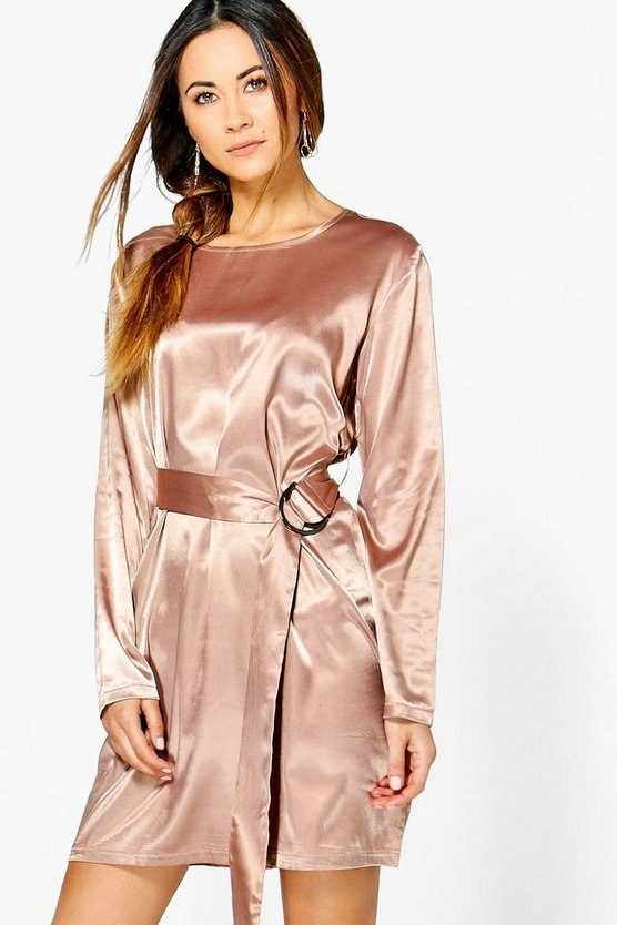Henrietta Satin D-Ring Belted Shift Dress
