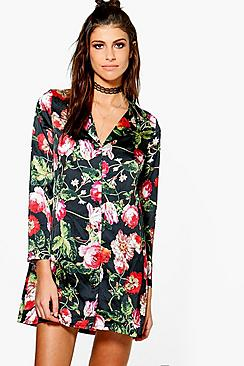 Kimberley Floral Satin Pyjama Shirt Dress
