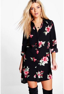 Aldabella Floral Print Shirt Dress