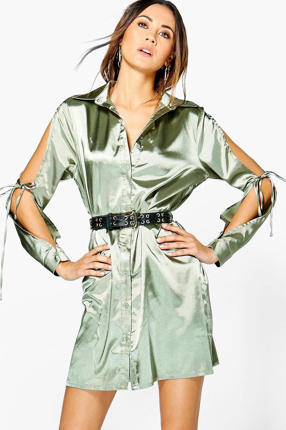 Satin Lace Up Shirt Dress  khaki