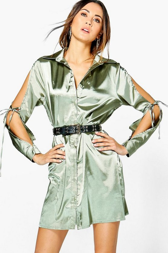 Rhiannon Satin Lace Up Shirt Dress