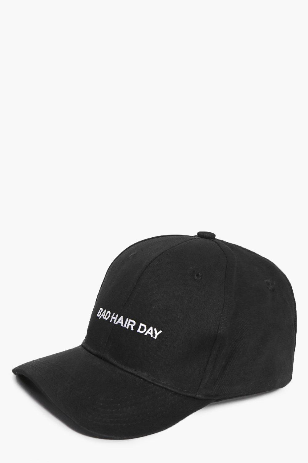 Bad Hair Day Slogan Baseball Cap - black - Lara Ba