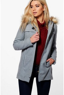Alexandra Buckle Front Faux Fur Coat