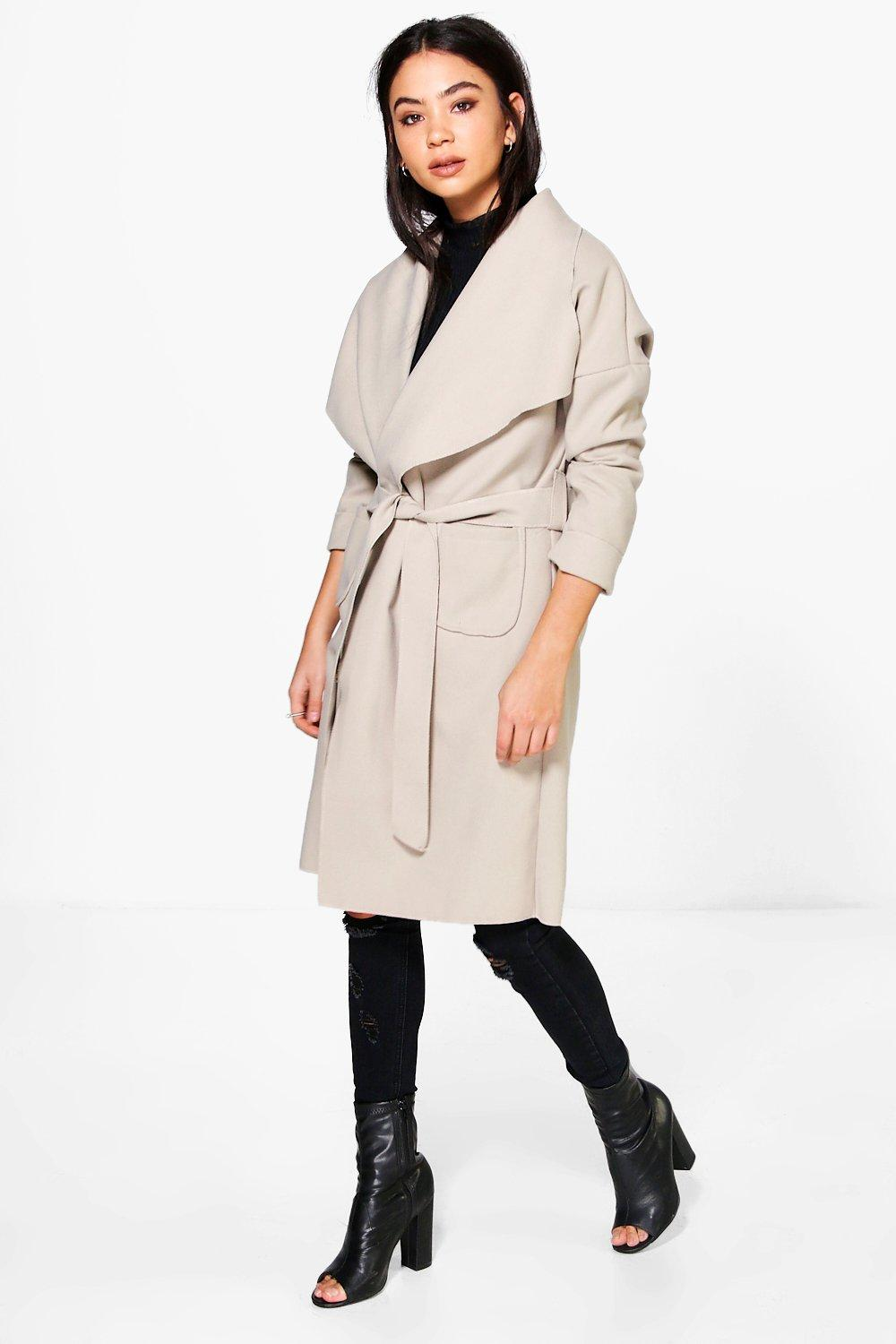 Natasha Pocket Shawl Collar Belted Coat