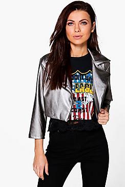 Rebecca Cropped PU Biker Jacket