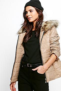 Anya Faux Fur Hood Quilted Jacket