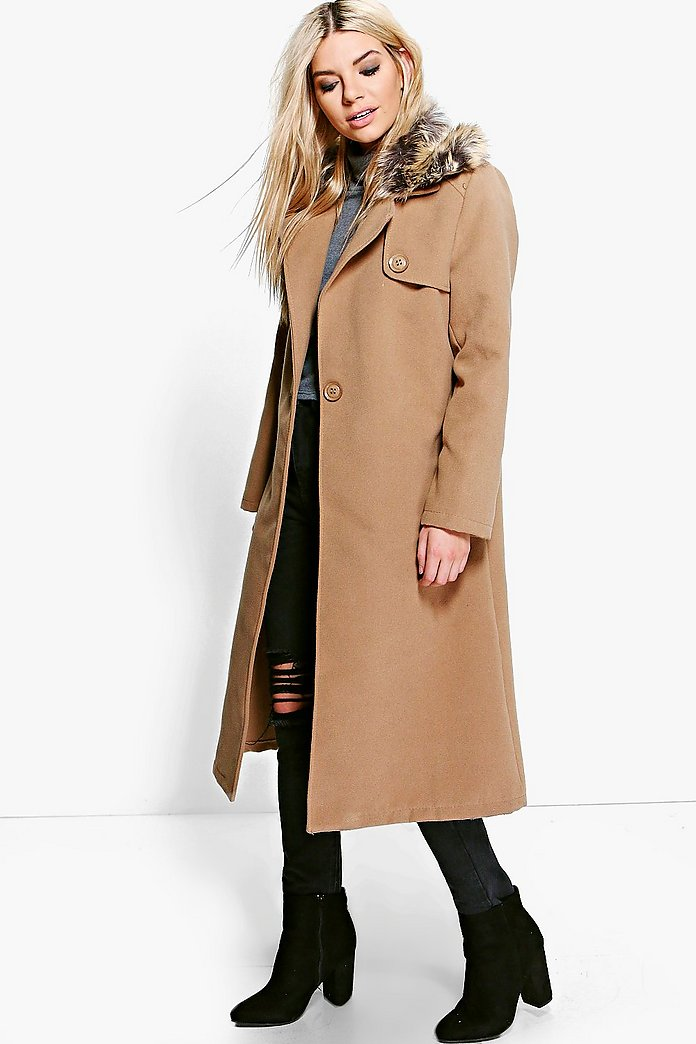 Emily Faux Fur Collar Wool Look Coat