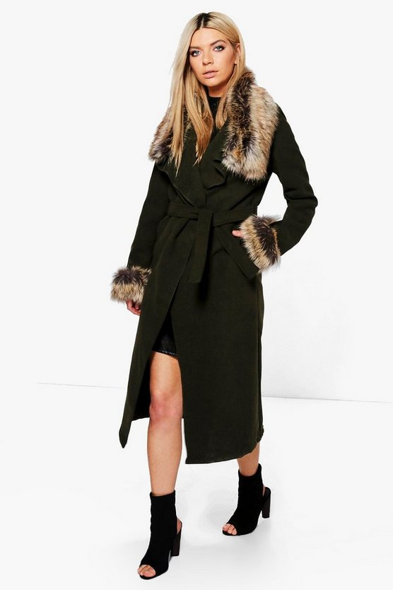 Mya Faux Fur Collar and Cuff Coat