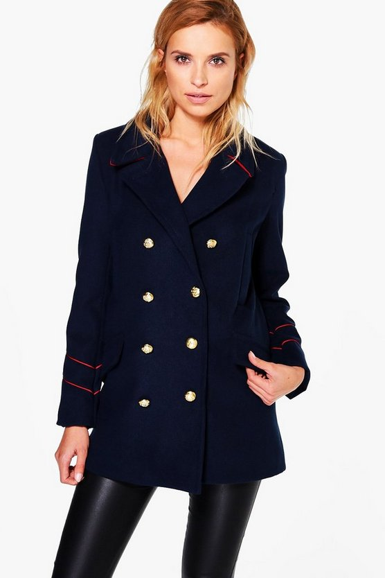 Serena Button Detail Military Coat