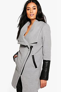 Eve Wrap PU Sleeve Coat