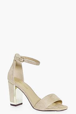Violet Gold Plate Block Heel Sandal