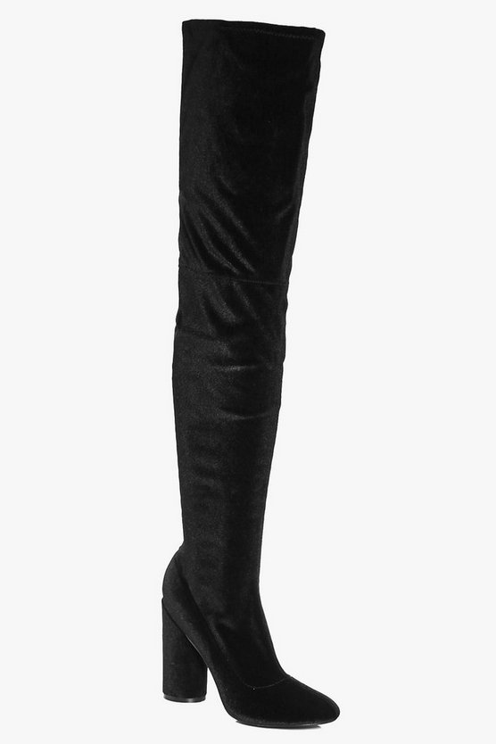 Lydia Cylinder Heel Thigh High Boot