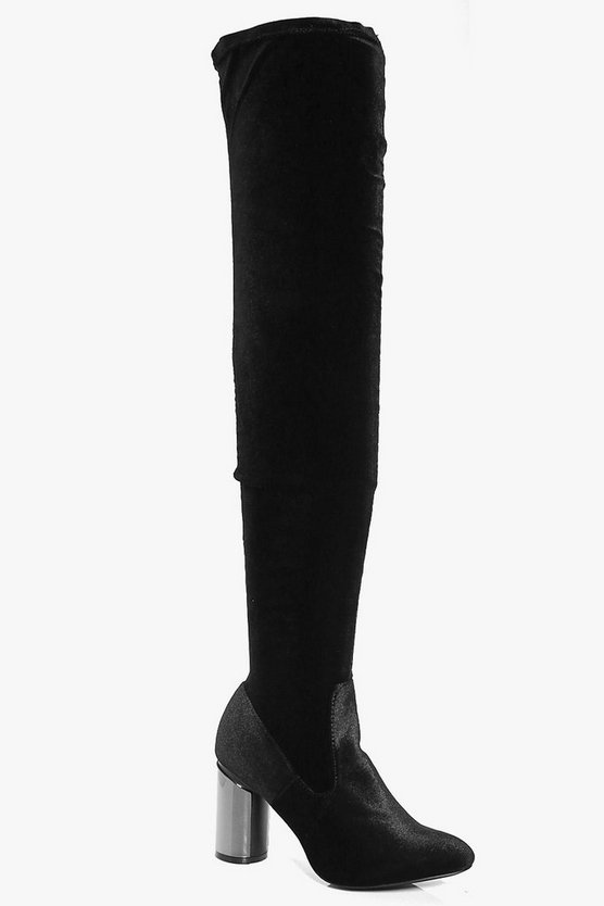 Alexis Pewter Cylinder Heel Thigh High Boot