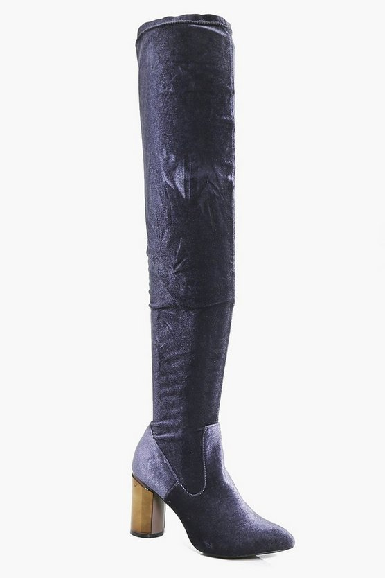 Maisy Metallic Cylinder Heel Thigh High Boot