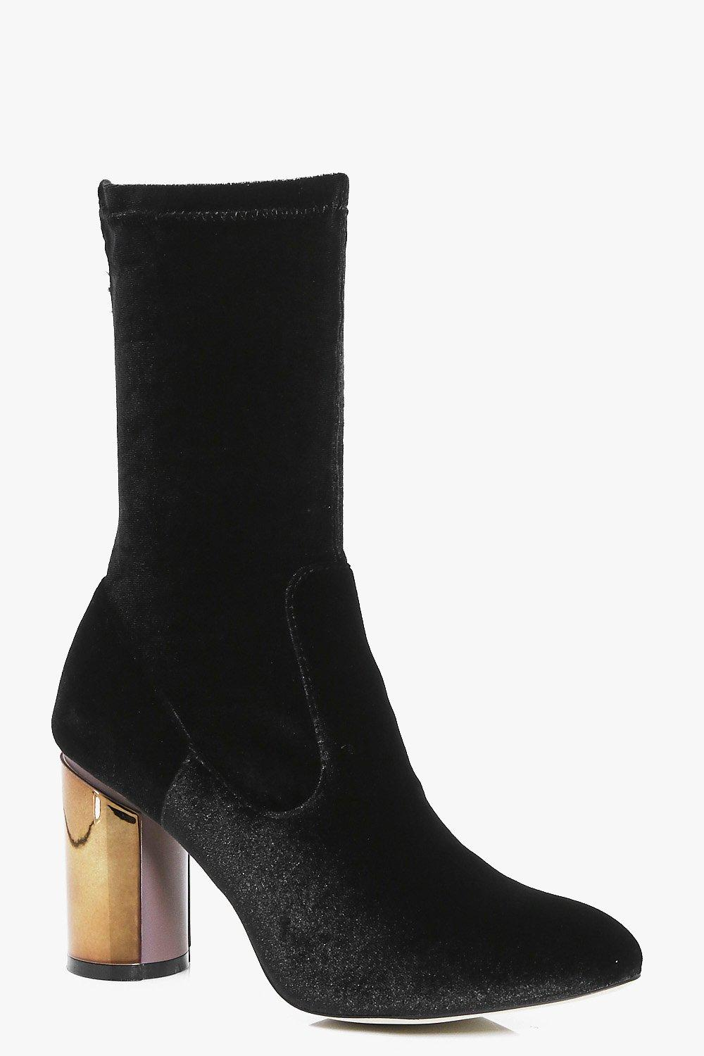 Tilly Metallic Heel Velvet Sock Boots