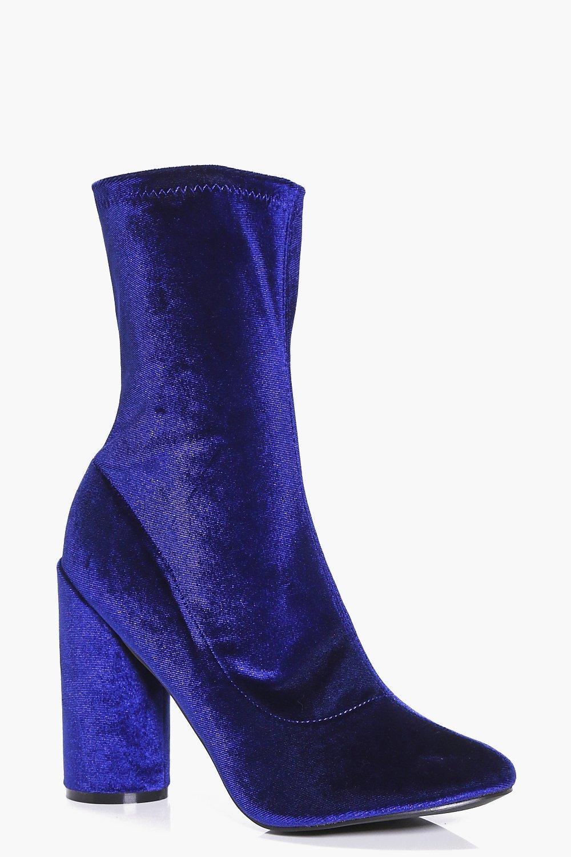 Mya Cylinder Heel Velvet Sock Boots