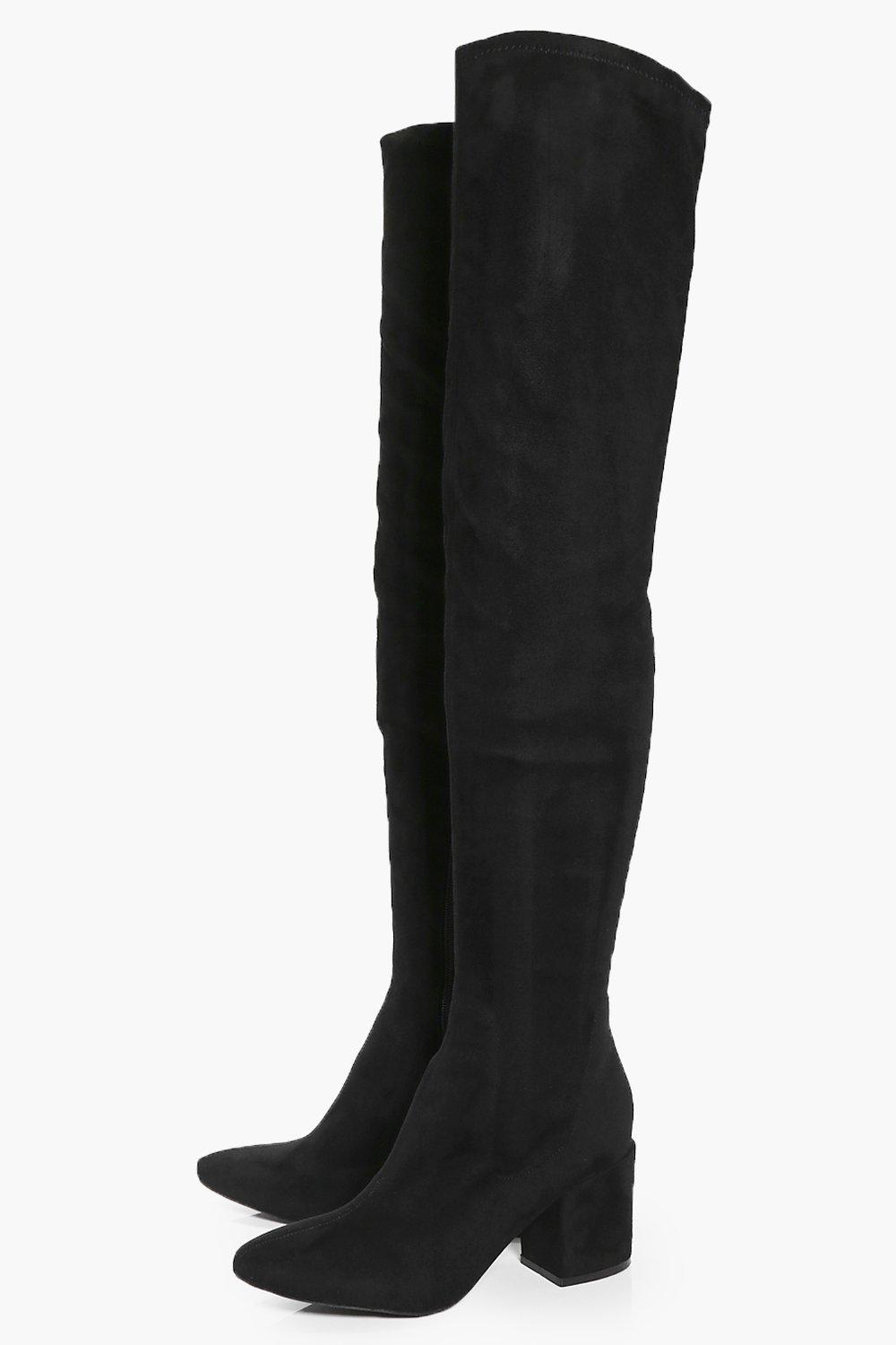 Libby Block Heel Thigh High Boot at boohoo.com
