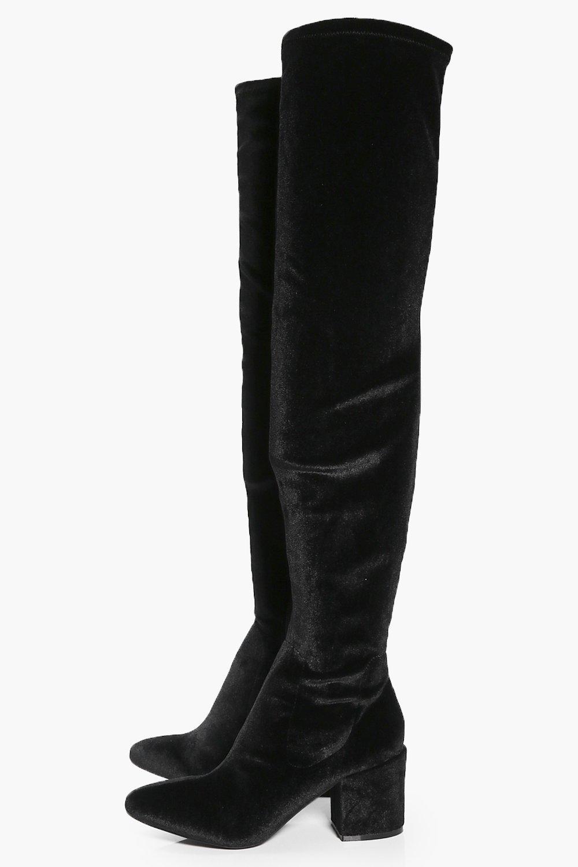 Alexandra Low Block Heel Over The Knee Boot at boohoo.com