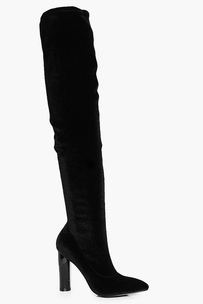 Darcy Pointed Velvet Thigh High Boot