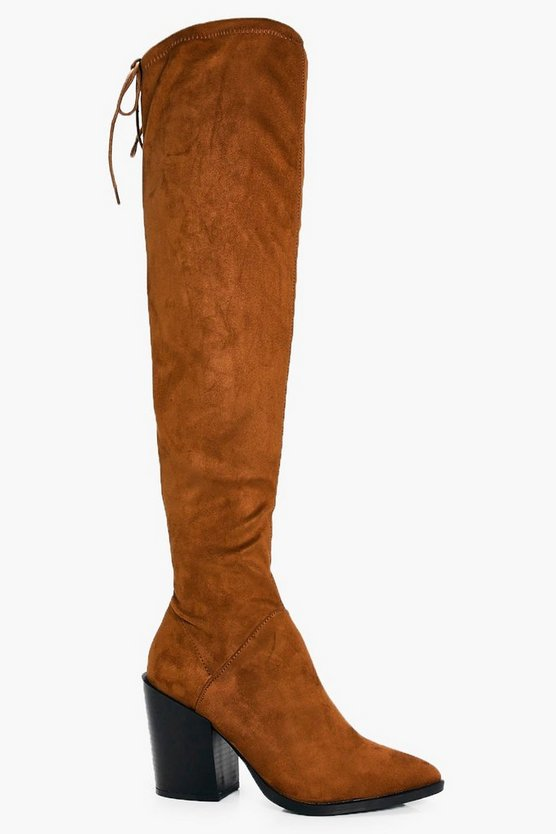 Tia Pointed Block Heel Over The Knee Boot