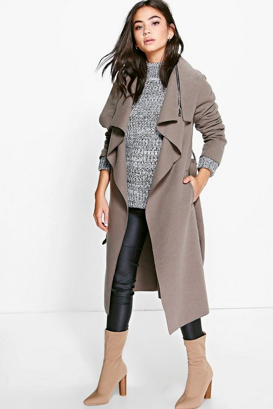 Emma Zip Detail Waterfall Coat