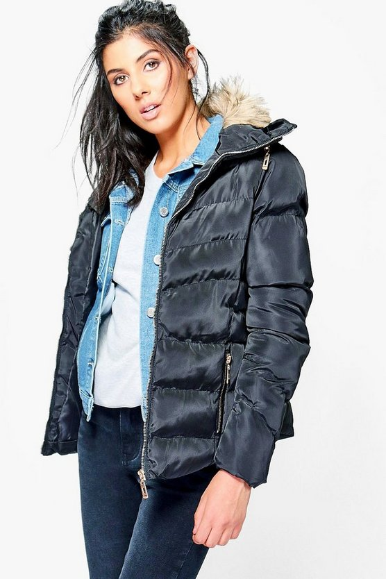 Lottie Faux Fur Short Quilted Jacket