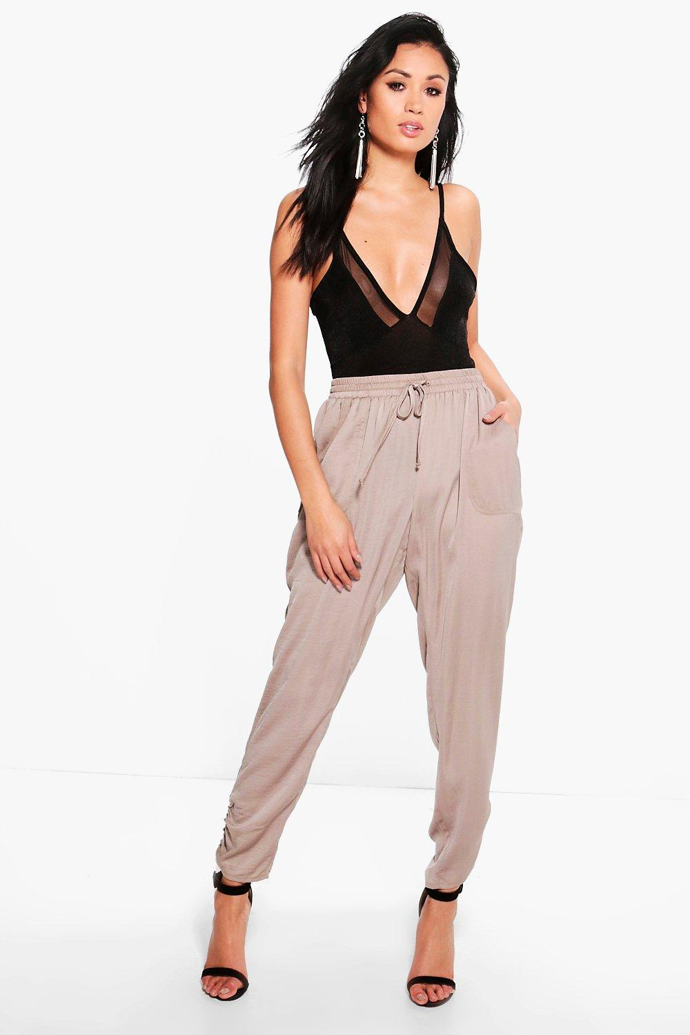 Luxe Rouched Ankle Joggers - taupe
