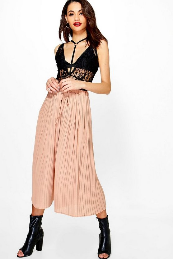 Ailani Pleated Tie Waist Woven Culottes