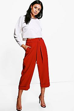 Harper Tie Waist Turn Up Woven Tailored Trousers