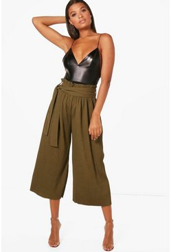 Gianna Pleated Crepe Wide Leg Cropped Trousers