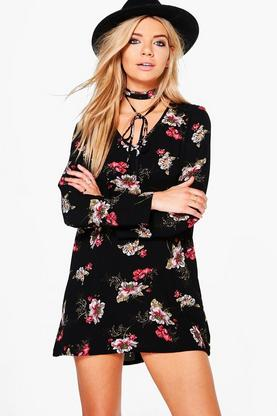 Felicity Floral Tie Neck Shift Dress