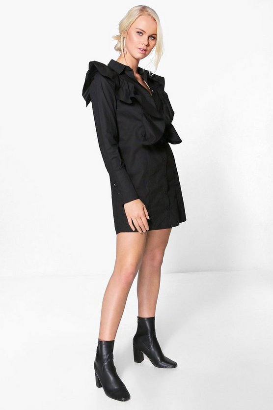 Danielle Ruffle Shoulder Shirt Dress