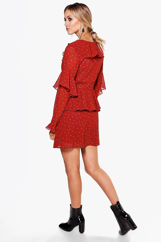 charlotte robe style ann es 50 volants et pois. Black Bedroom Furniture Sets. Home Design Ideas